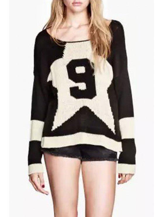 fashion Number 9 and Star Jacquard Sweater - BLACK S