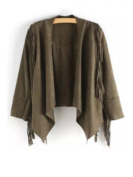 new Open Front Tassels Suede Jacket - ARMY GREEN S