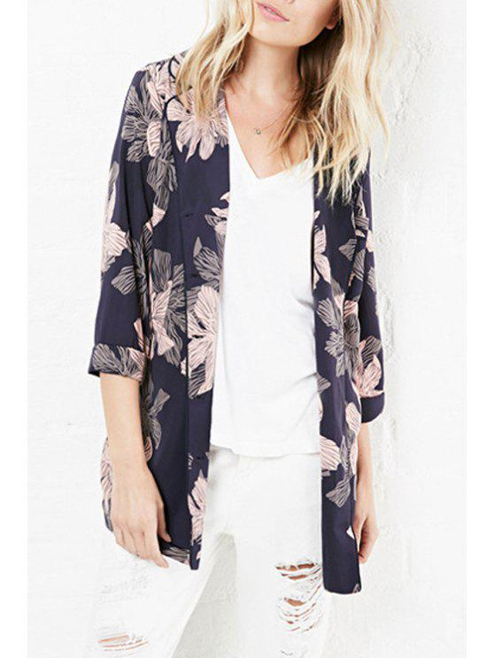 new Floral Print Turn-Down Collar 3/4 Sleeves Shirt - COLORMIX XS