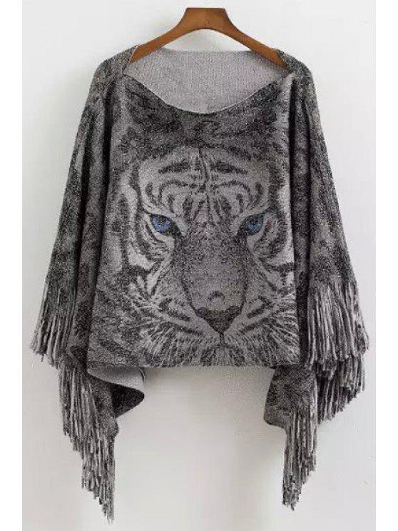 unique Tiger Pattern Tassels Cape Sweater - GRAY ONE SIZE(FIT SIZE XS TO M)