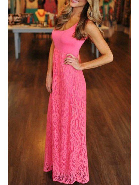 new Lace Floral Pattern Sleeveless Dress - PINK S