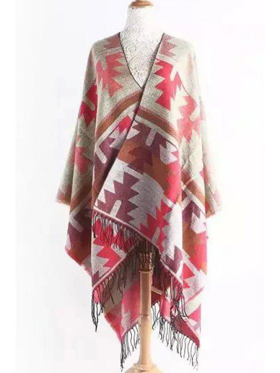 best Geometric Pattern Fringed Cape - PINK ONE SIZE(FIT SIZE XS TO M)