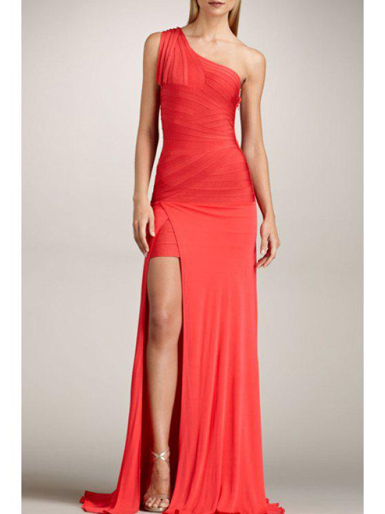 hot Solid Color One-Shoulder Prom Dress - RED XS