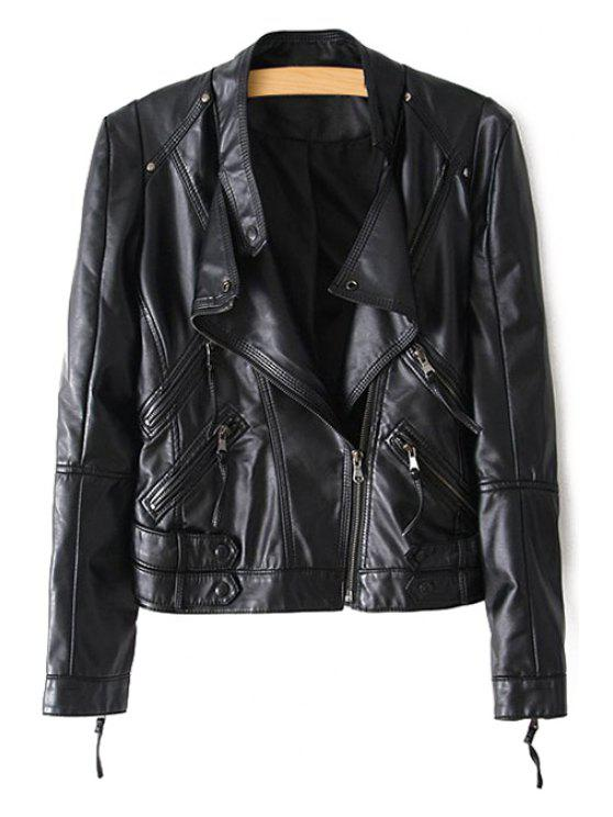 fashion Stand Neck Zippered PU Leather Jacket - BLACK L