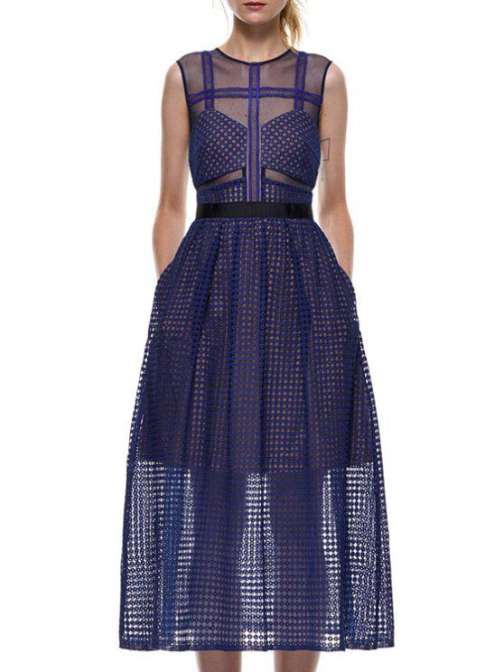 affordable Blue Hollow Out Sleeveless A Line Dress - BLUE S