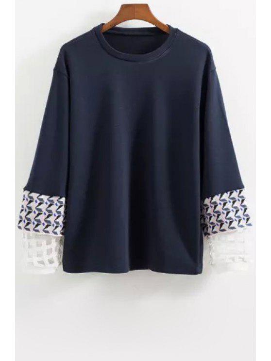 shop Long Sleeve Splicing Sweatshirt - BLUE XS