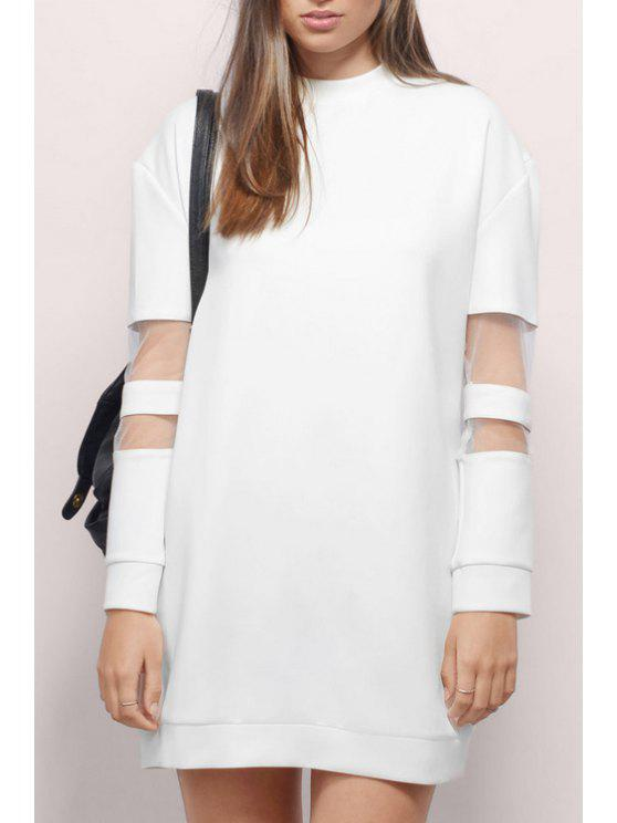 latest Voile Splicing Round Collar Long Sleeves Sweatshirt Dress - WHITE L