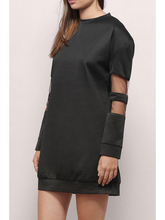 buy Voile Splicing Round Collar Long Sleeves Sweatshirt Dress - BLACK 2XL