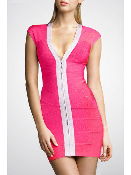 fashion Color Block Plunging Neck Bandage Dress - ROSE XS