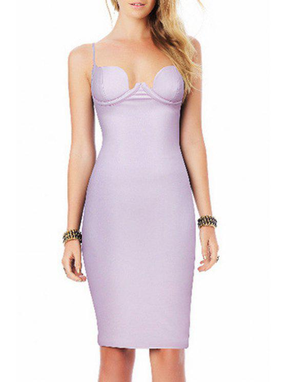 women's Pure Color Cami Bodycon Dress - LIGHT PURPLE XS