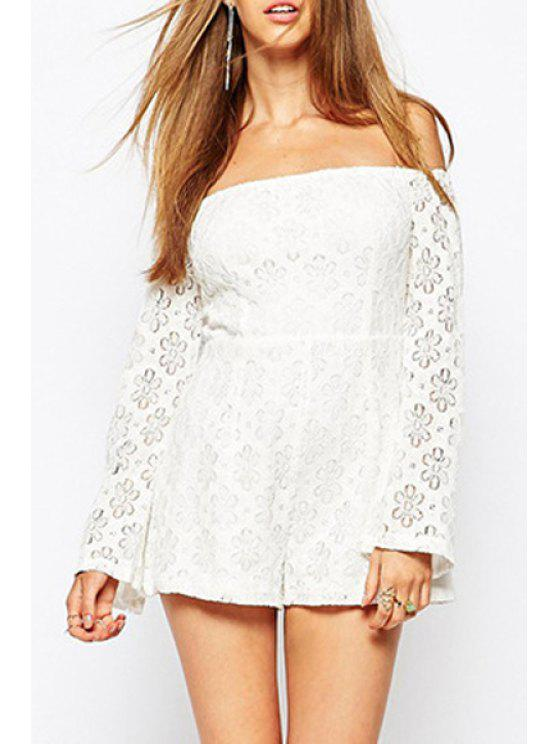 071324fc4a9c83 34% OFF] 2019 Openwork Lace Hook Slash Neck Long Sleeves Romper In ...