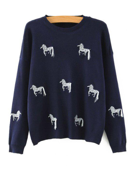 women Horse Embroidered Jumper - CADETBLUE ONE SIZE(FIT SIZE XS TO M)