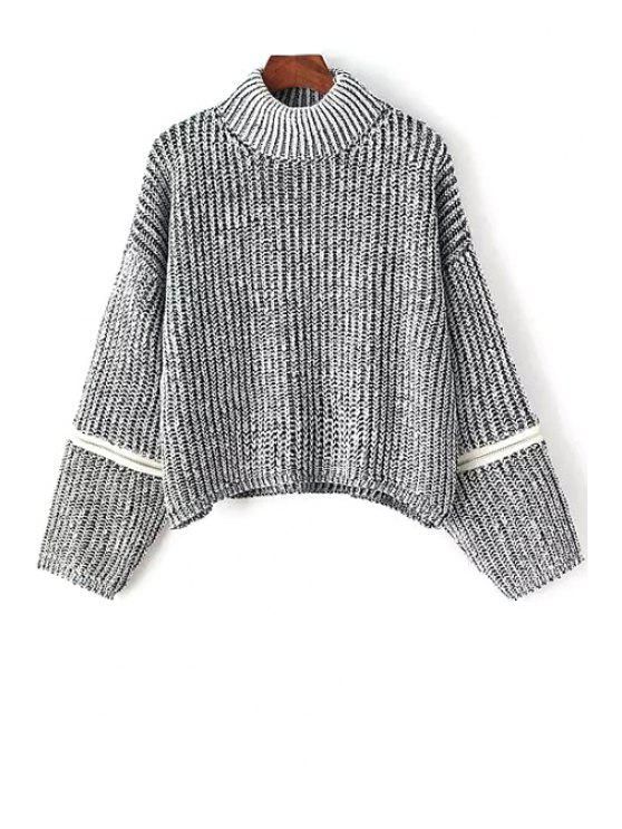 lady Turtle Neck Zippered Sweater - GRAY ONE SIZE(FIT SIZE XS TO M)