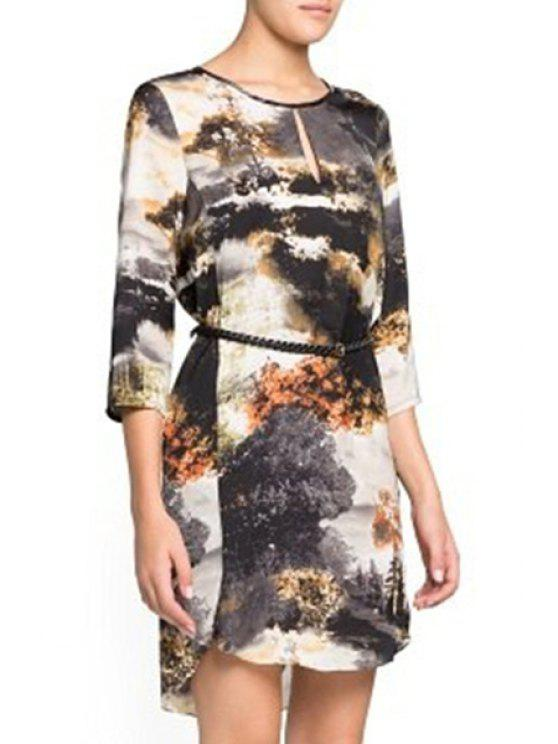 unique Scenery Print 3/4 Sleeve Dress - COLORMIX S