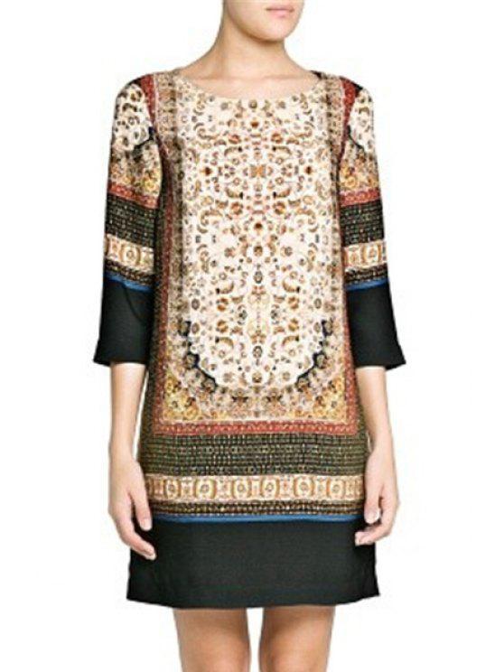 buy Ethnic Print Scoop Neck 3/4 Sleeve Dress - BEIGE S