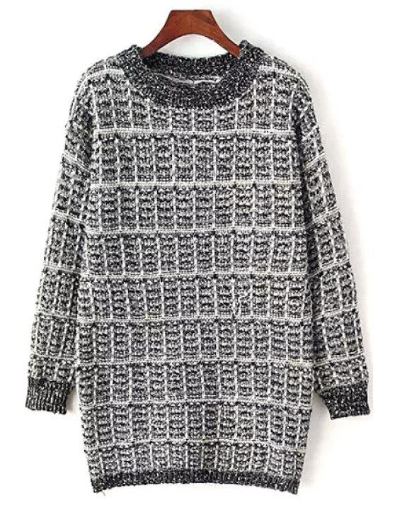 hot Round Neck Plaid Sweater - GRAY ONE SIZE(FIT SIZE XS TO M)