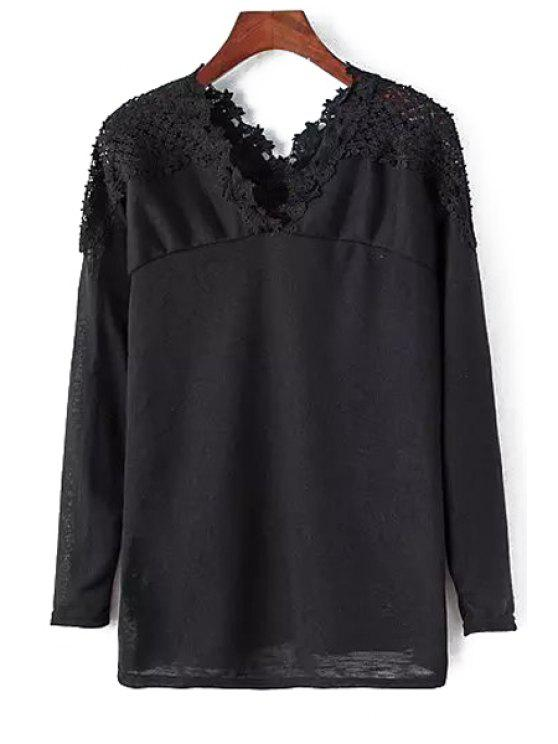 trendy V-Neck Lace Patchwork T-Shirt - BLACK ONE SIZE(FIT SIZE XS TO M)