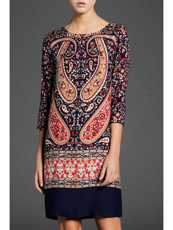 best 3/4 Sleeve Paisley Print Dress - BLACK S