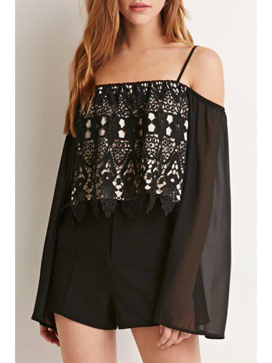 new Lace Splicing Long Sleeves Straps See-Through T-Shirt - BLACK M