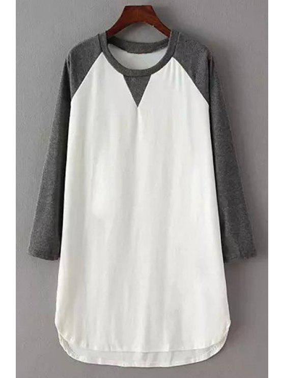 outfit Color Block Straight Dress - GRAY ONE SIZE(FIT SIZE XS TO M)