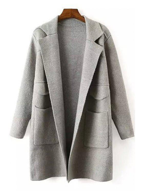 hot Solid Color Lapel Collar Long Sleeves Pocket Cardigan - GRAY ONE SIZE(FIT SIZE XS TO M)