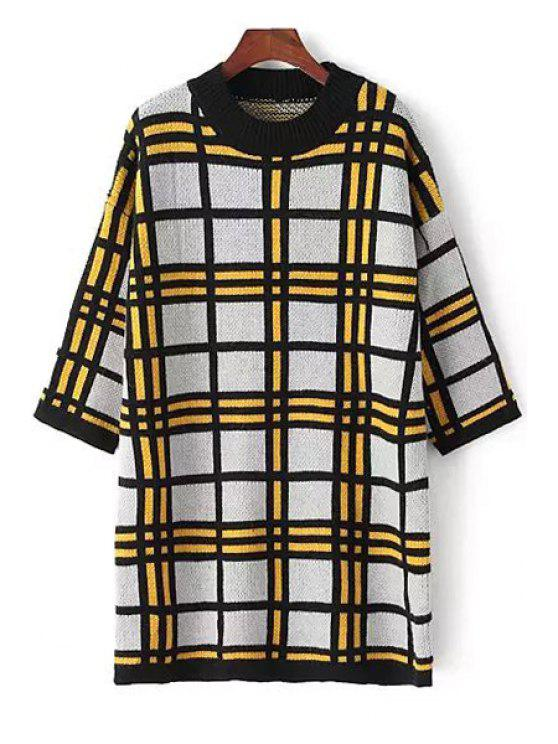 outfits 3/4 Sleeve Plaid Long Sweater - YELLOW ONE SIZE(FIT SIZE XS TO M)