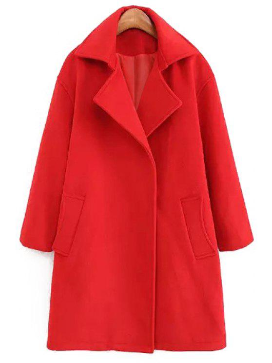 fashion Lapel Red Wool Coat - RED S