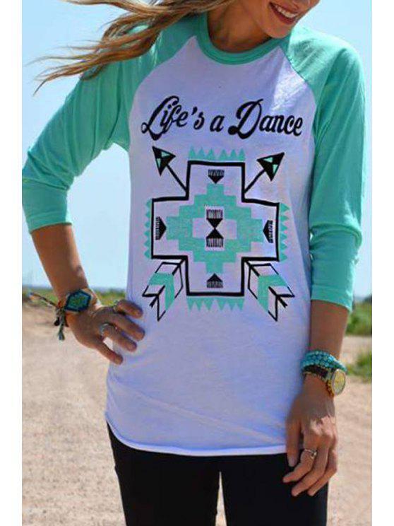 shop Scoop Neck Letters Print Long Sleeve T-Shirt - MINT GREEN S