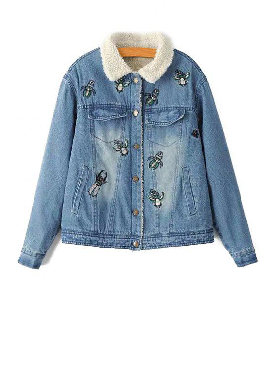 fancy Fleece Lining Embroidered Jacket - BLUE XS
