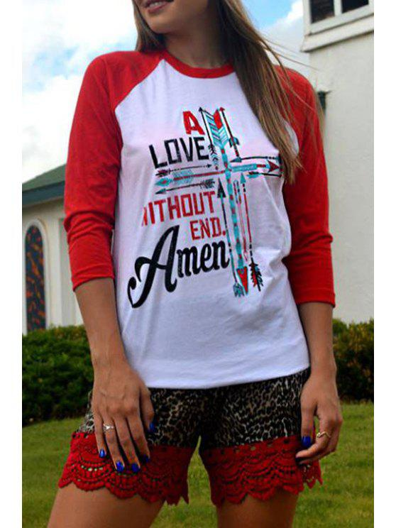 fashion Letter Print Scoop Collar Long Sleeves T-Shirt - RED WITH WHITE S
