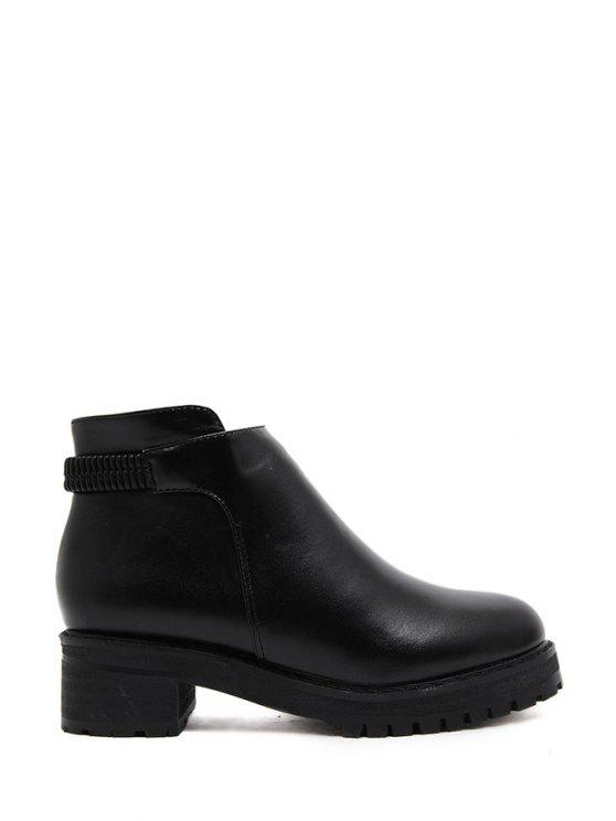 outfits Solid Color Zipper Platform Ankle Boots - BLACK 35