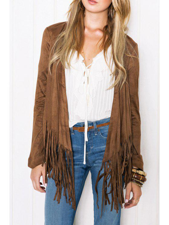 lady Pure Color Tassels Long Sleeve Coat - BROWN M