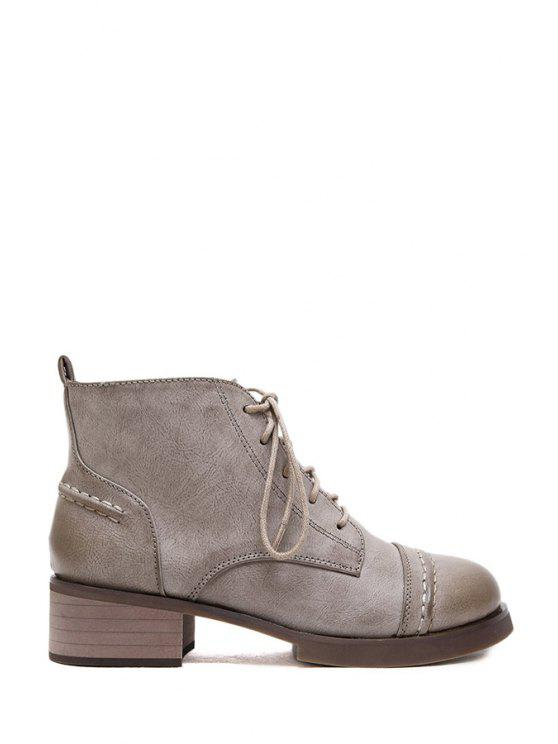affordable Lace-Up Zipper Round Toe Ankle Boots - GRAY 35