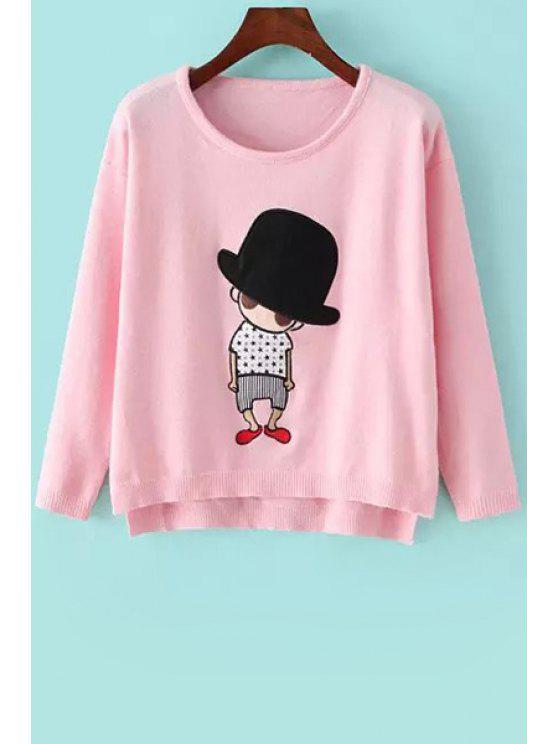 shop Cartoon Pattern Appliqued Sweater - PINK ONE SIZE(FIT SIZE XS TO M)