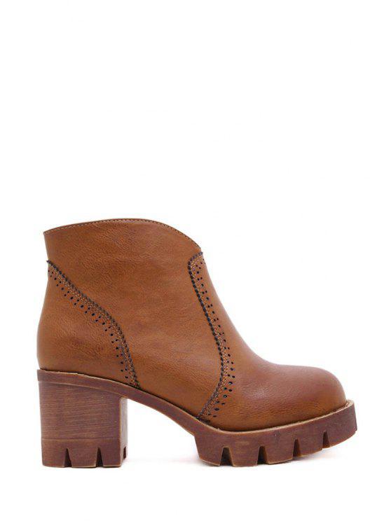 sale Engraving Platform Zipper Ankle Boots - CHOCOLATE 35
