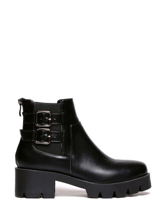 latest Buckles Solid Color Platform Ankle Boots - BLACK 39