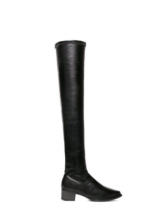 trendy Pointed Toe Black Over The Knee Boots - BLACK 35