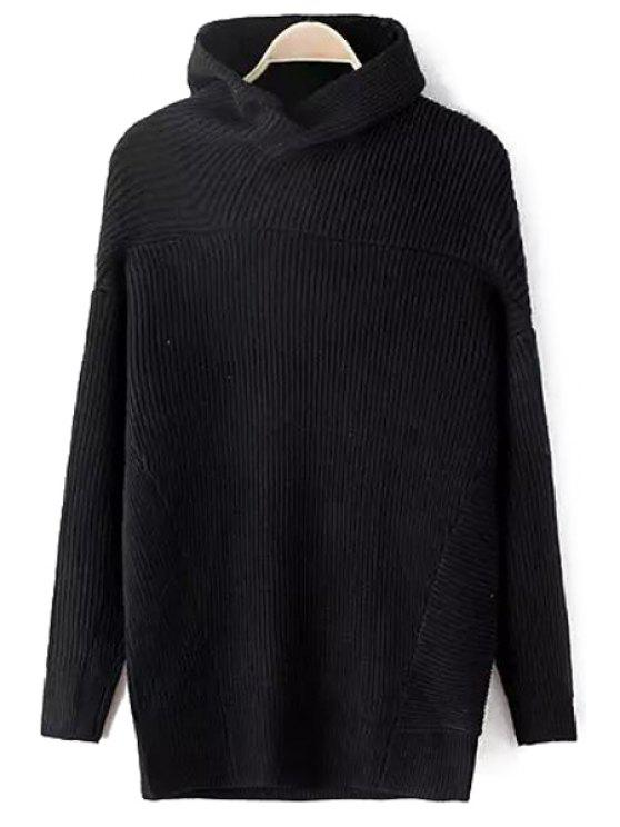 womens Funnel Collar Solid Color Jumper - BLACK ONE SIZE(FIT SIZE XS TO M)