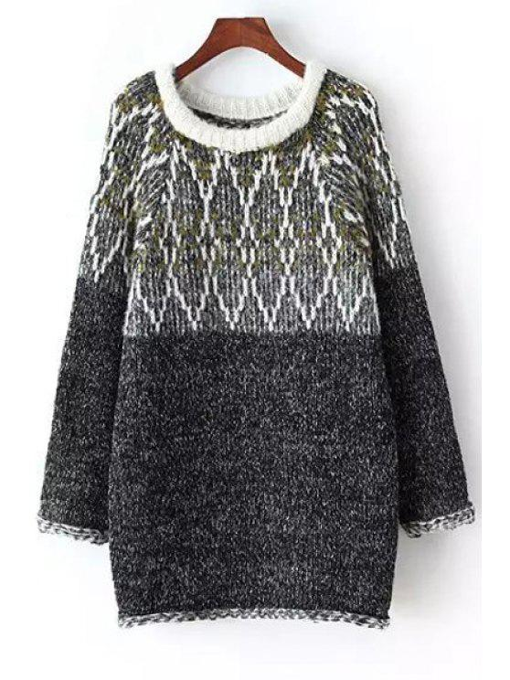 online Hit Color Jacquard Sweater - GRAY ONE SIZE(FIT SIZE XS TO M)
