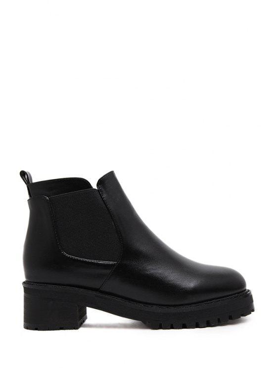 fancy Elastic Platform Solid Color Ankle Boots - BLACK 35