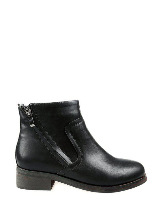 best Zipper Round Toe Black Ankle Boots - BLACK 35