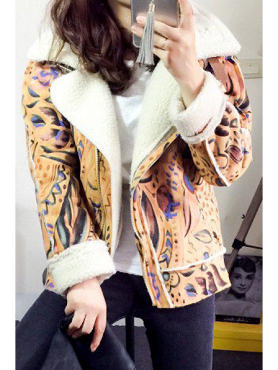 Manteau court suédé imprimé à manches longues et col à revers - Multicolore L