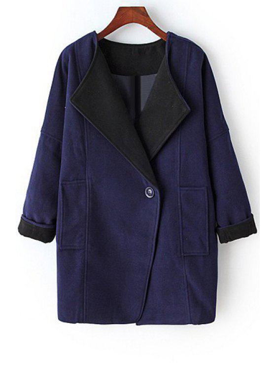 fancy Pure Color Turn-Down Collar Big Pocket Coat - PURPLISH BLUE S
