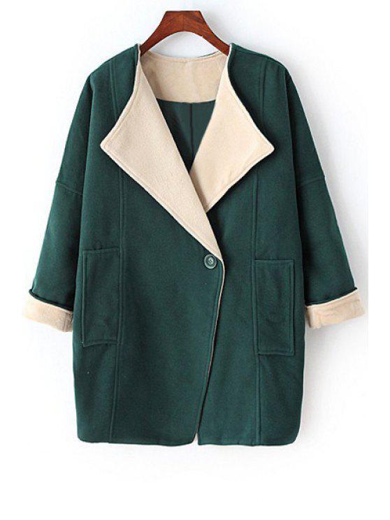 trendy Pure Color Turn-Down Collar Big Pocket Coat - GREEN M