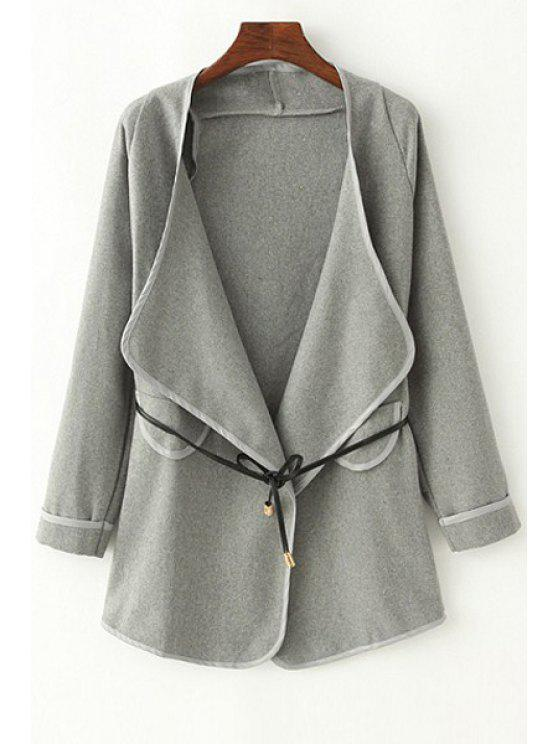 lady Pure Color Turn-Down Collar Long Sleeves Sashes Coat - GRAY S