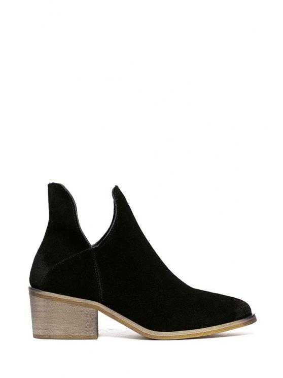womens Solid Color Chunky Heel Suede Ankle Boots - BLACK 35