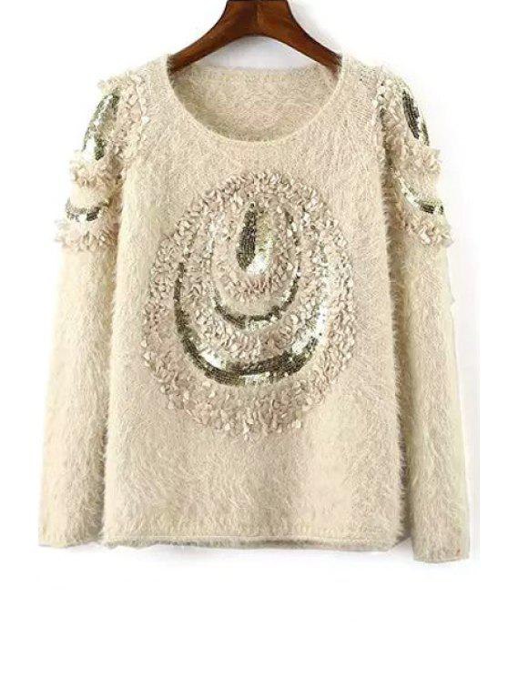 buy Round Neck Sequined Sweater - APRICOT ONE SIZE(FIT SIZE XS TO M)