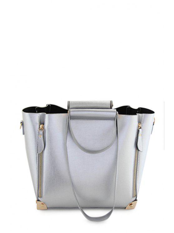 latest Solid Color Metal Zipper Shoulder Bag - SILVER