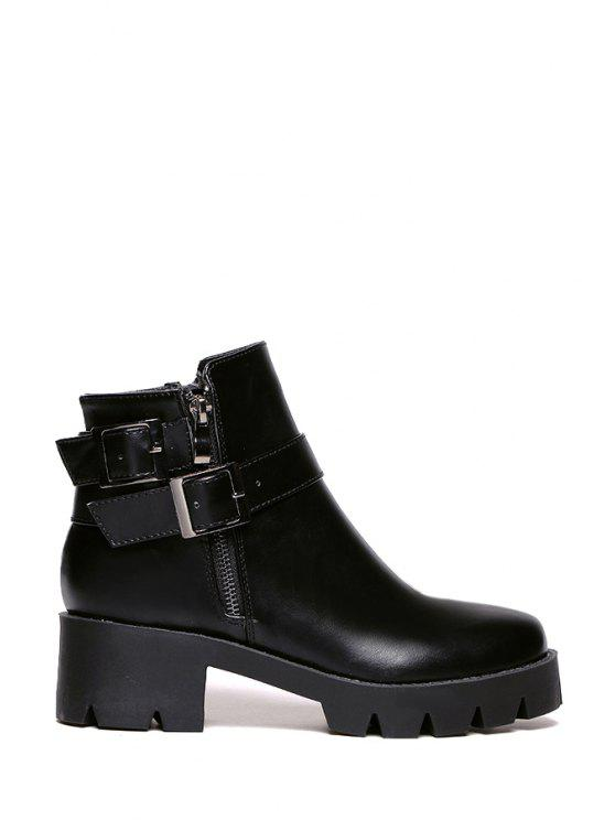 buy Black Platform Buckles Ankle Boots - BLACK 35