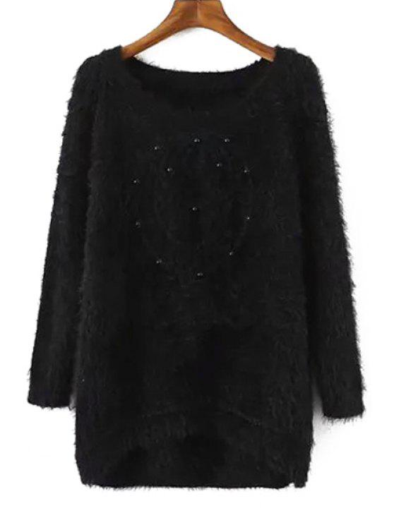 women Round Neck Beading Sweater - BLACK ONE SIZE(FIT SIZE XS TO M)